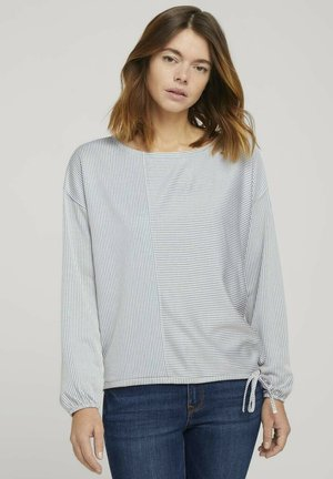 Long sleeved top - mid blue white stripe