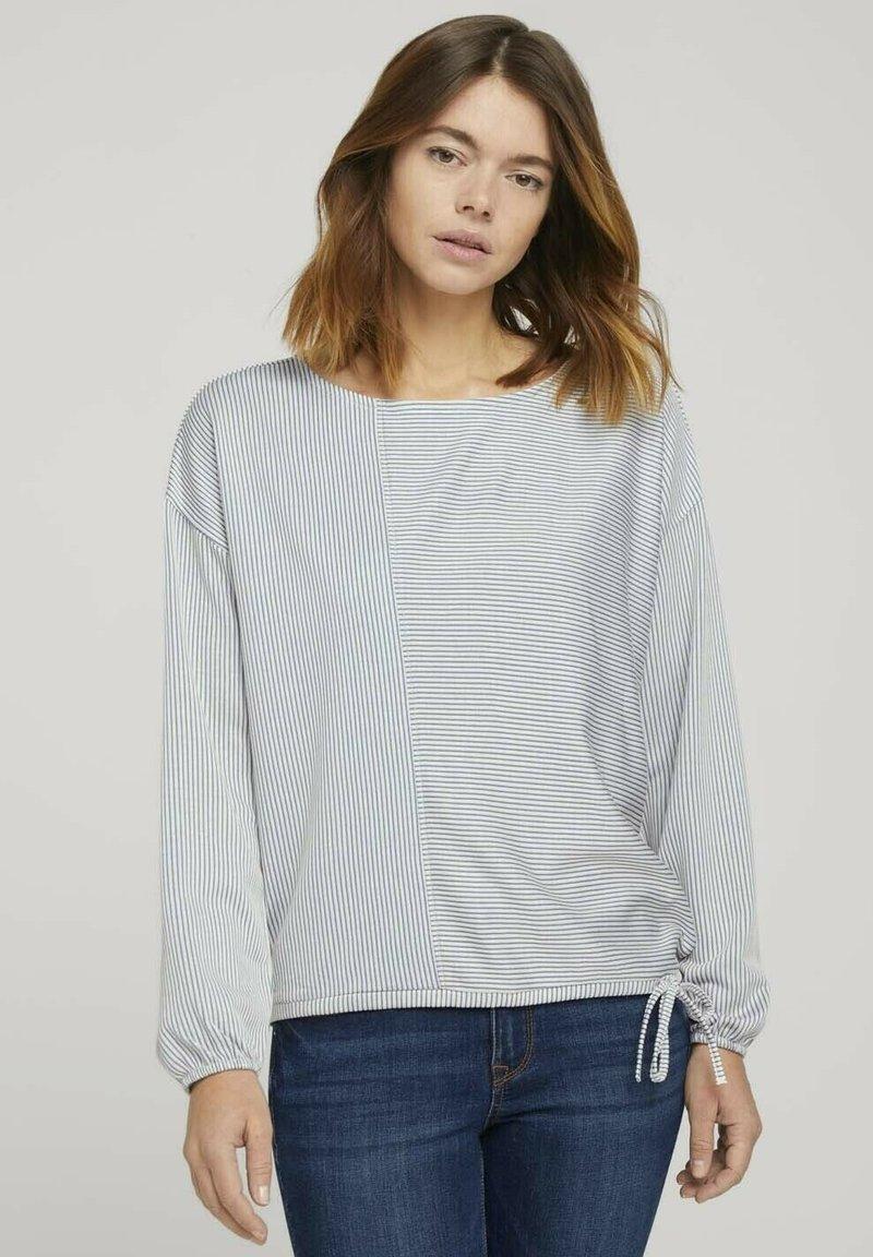 TOM TAILOR DENIM - Long sleeved top - mid blue white stripe
