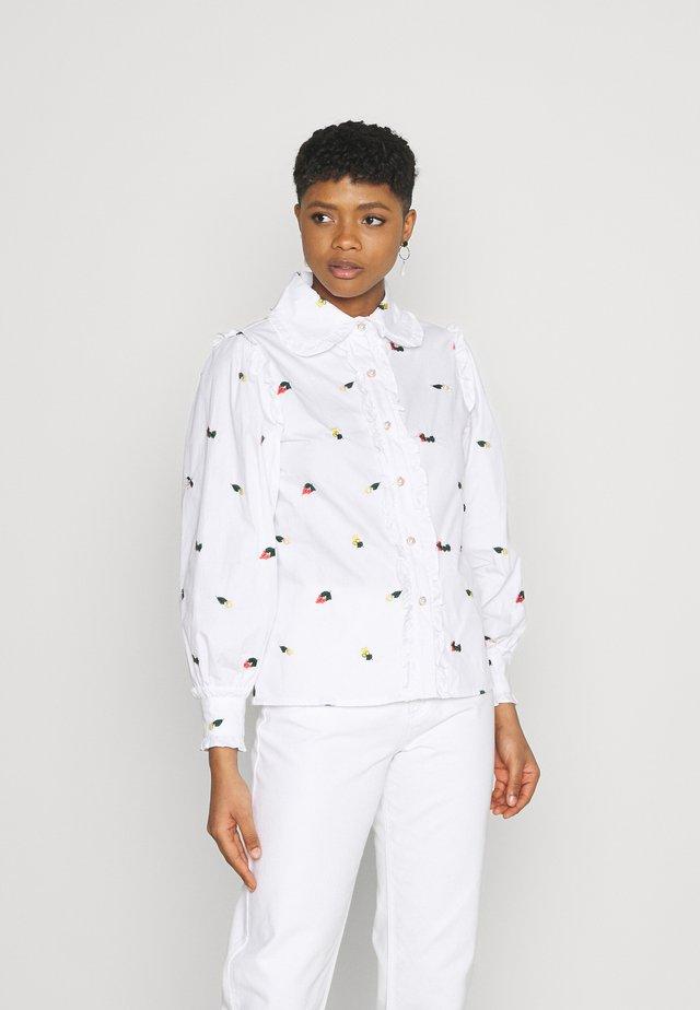 POSY EMBROIDERED RUFFLE BLOUSE - Camicia - white