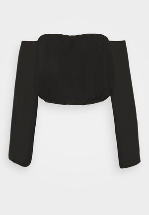 PAMELA REIF X NA-KD OFF SHOULDER BALLOON SLEEVE  - Bluser - black