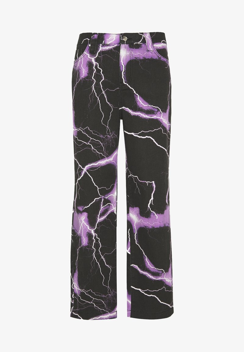 Jaded London - PURPLE LIGHTNING SKATE JEAN - Jeans baggy - black/purple