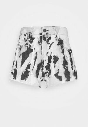 Denim shorts - black/white
