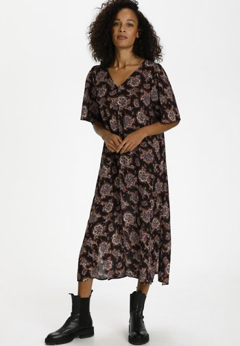 Day dress - midnight, red, blue paisley