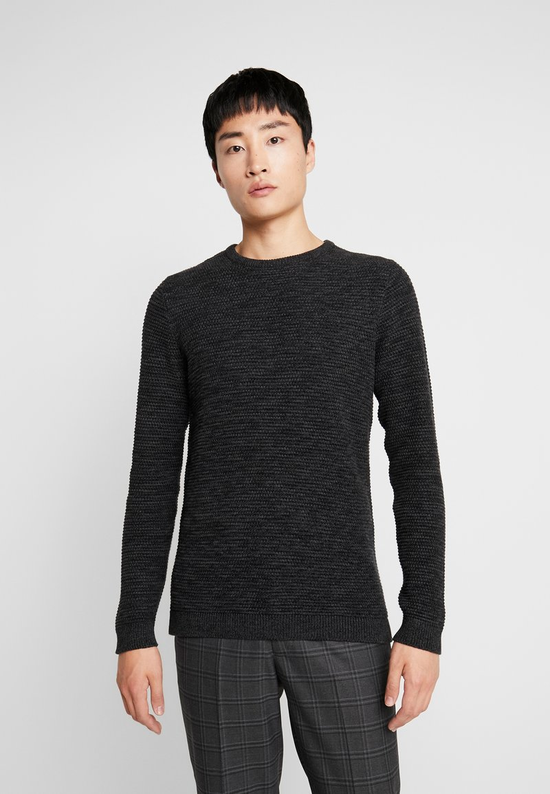 Selected Homme - SHXNEWVINCEBUBBLE CREW NECK - Stickad tröja - antracit/black