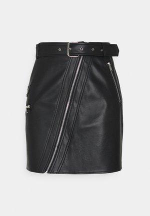 DETAILED BIKER SKIRT - Mini skirt - black