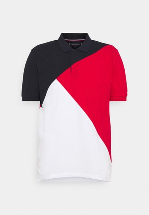 DIAGONAL COLORBLOCK REGULAR - Poloshirt - desert sky/white/primary red