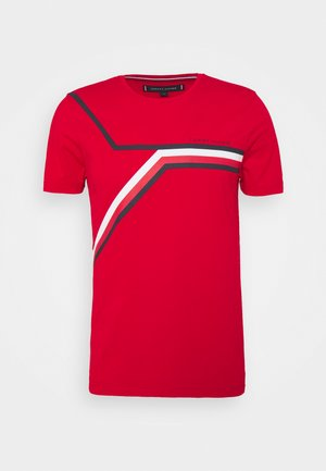 SPLIT CHEST STRIPE TEE - Print T-shirt - primary red