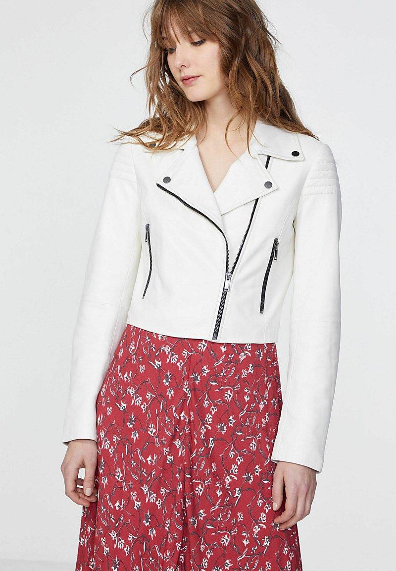 IKKS - Leather jacket - blanc cassé