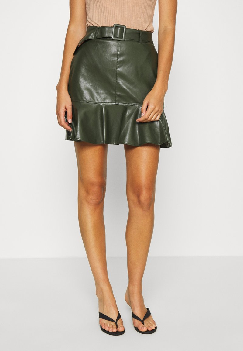 Lost Ink - BELTED FRILL HEM MINI SKIRT - Mini skirt - khaki