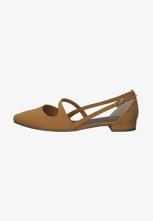 Ankle strap ballet pumps - curry