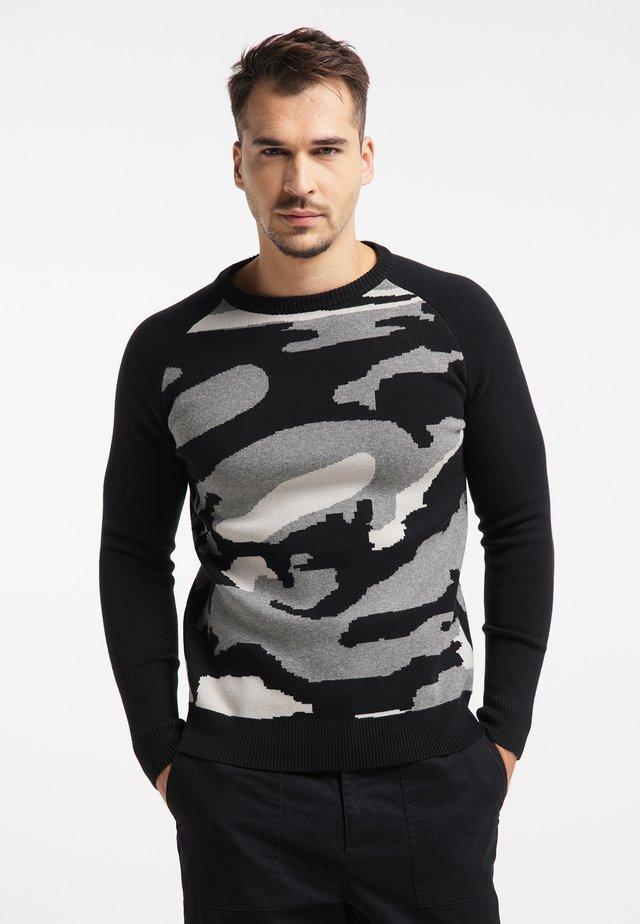 Sweater - schwarz camouflage