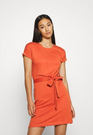 BASIC - Short sleeves mini belted dress - Jersey dress - bruschetta