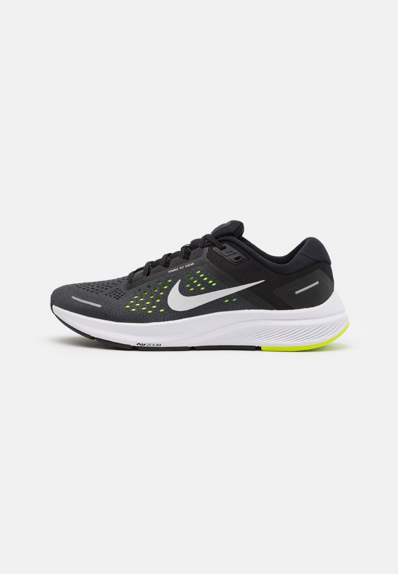 Nike Performance - AIR ZOOM STRUCTURE 23 - Stabilty running shoes - black/metallic silver/volt/anthracite/white