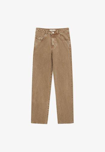 MIT HOHEM BUND - Straight leg jeans - mottled light brown