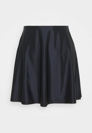 SATIN HIGH WAISTED MINI A-LINE SKIRT - A-snit nederdel/ A-formede nederdele - black
