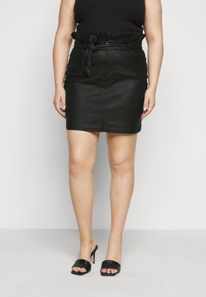 COATED PAPERBAG WAIST SKIRT - Mini skirt - black