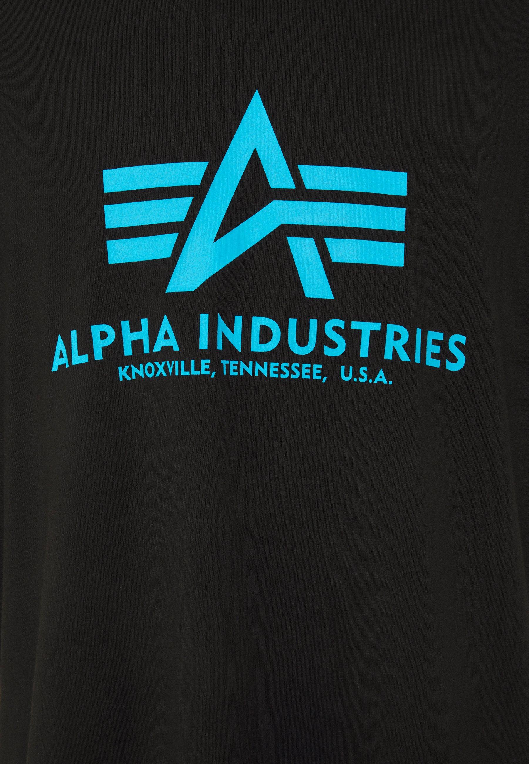 Alpha Industries BASIC - Print T-shirt - black/blue Hhi12