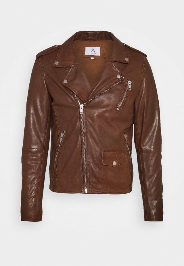 HOOD - Leather jacket - dark brown