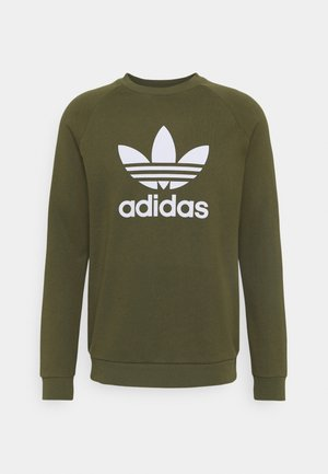 TREFOIL CREW UNISEX - Sweatshirt - focus olive/white