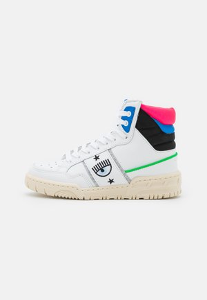 High-top trainers - white/blue/black/pink fluo