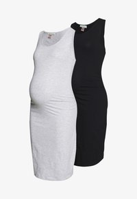 Anna Field MAMA - 2 PACK - Vestido de tubo - light grey/black - 5