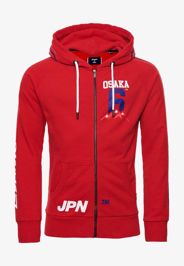 veste en sweat zippée - rouge red