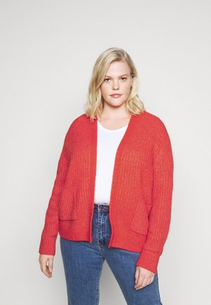 TEXTURED STITCH OPEN CARDI - Cardigan - oxidized orange