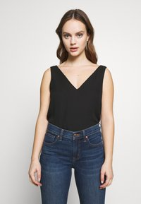 Wallis Petite - DOUBLE LAYER ASYM CAMI - Blouse - black - 0