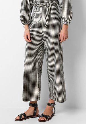 GINGHAM CULOTTE  - Trousers - black