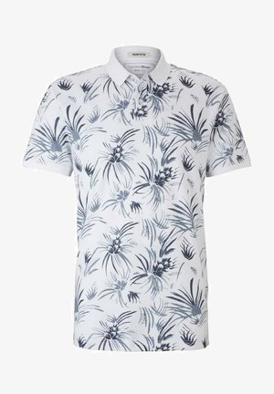 Polo - white navy thistle print