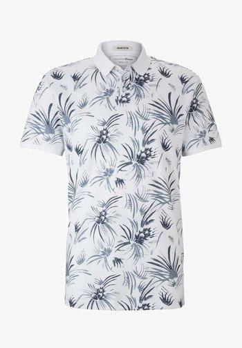 Polo shirt - white navy thistle print