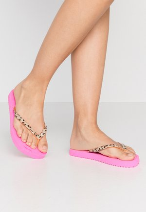 EASY ANIMAL - T-bar sandals - neon lilac/neon orange