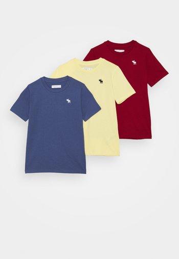 CREW 3 PACK  - Print T-shirt - blue/yellow/dark red