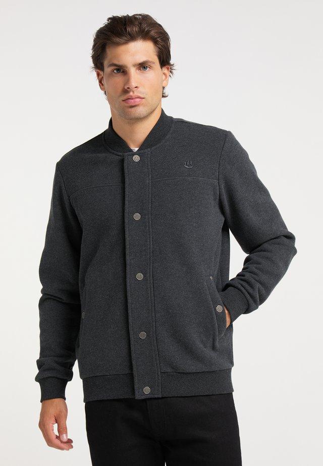 Zip-up sweatshirt - dunkelgrau melange
