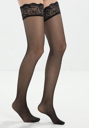 FALKE MATT DELUXE 20 DENIER STAY UPS TRANSPARENT MATT - Over-the-knee socks - black