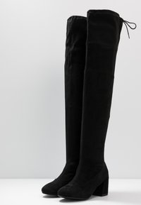 Miss Selfridge Wide Fit - WIDE FIT OSLO LOW BLOCK - Over-the-knee boots - black - 4