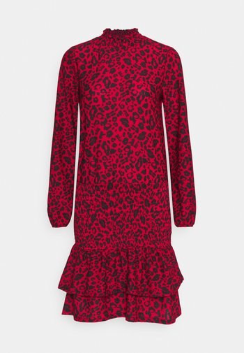 SHEERED MINI ANIMAL - Jersey dress - red