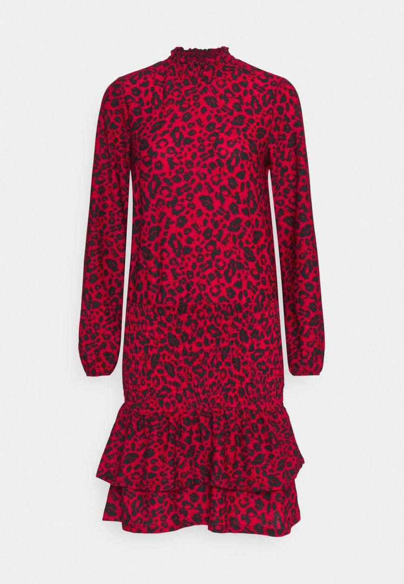 Dorothy Perkins - SHEERED MINI ANIMAL - Žerzejové šaty - red