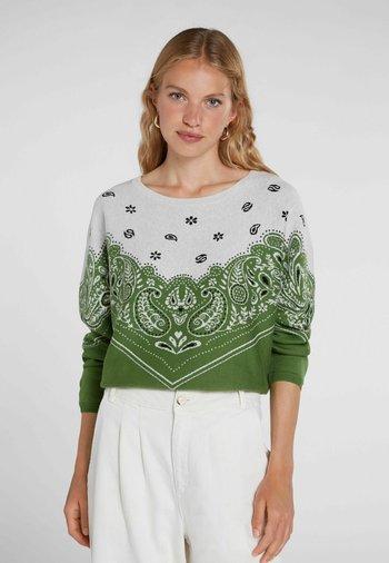 Sweatshirt - green white