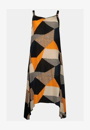 Day dress - orange, grey, beige