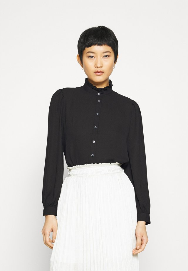 POET COLLAR BUTTON UP GEORGETTE - Button-down blouse - black