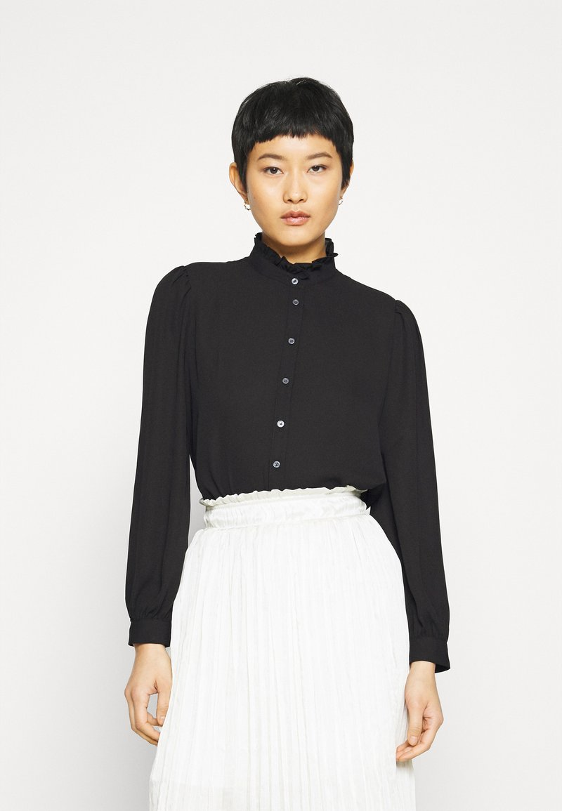 Banana Republic - POET COLLAR BUTTON UP GEORGETTE - Button-down blouse - black