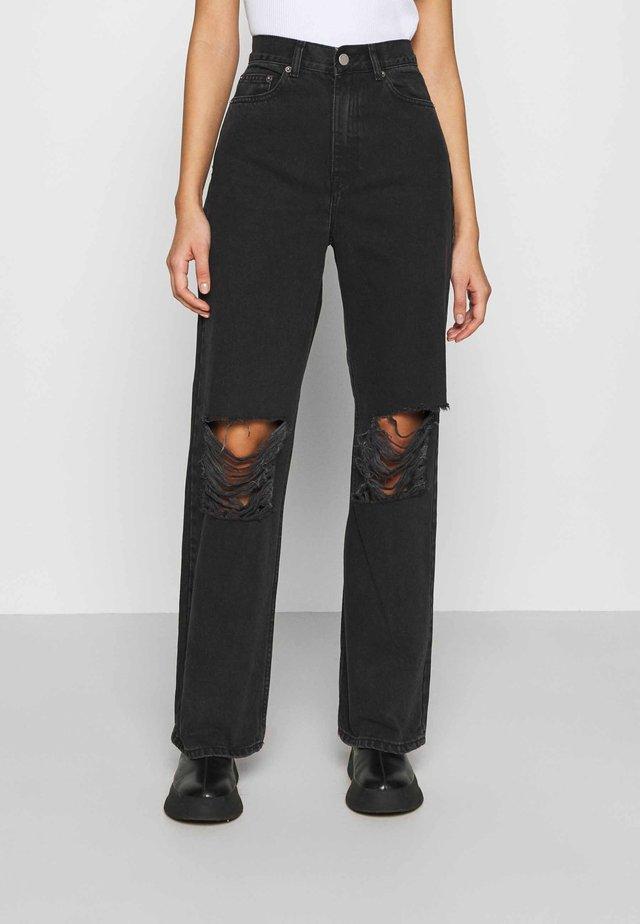 ECHO - Straight leg jeans - concrete black ripped