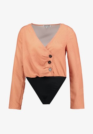 BODYSUIT WITH 3 BUTTON DETAILING - Blouse - coral