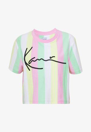 SIGNATURE STRIPE TEE - Triko s potiskem - green/white/pink/yellow