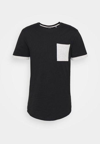 ONSMATT LIFE LONGY CONTRAST TEE - Print T-shirt - black