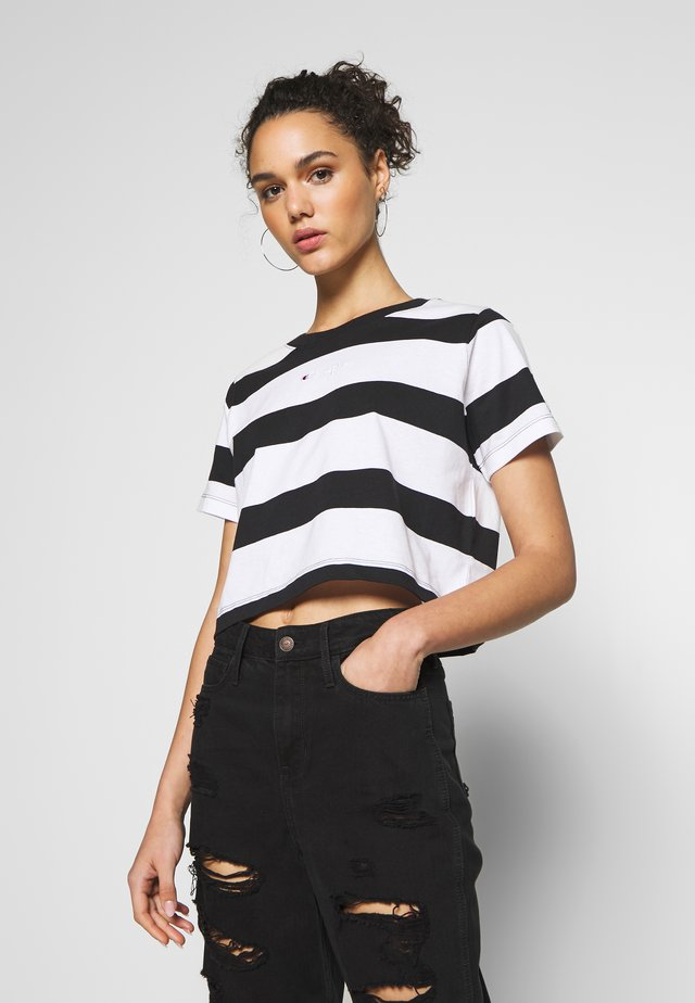 STRIPE - T-shirt z nadrukiem - white/black