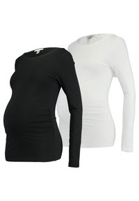 Anna Field MAMA - 2 PACK - Long sleeved top - black/white - 0
