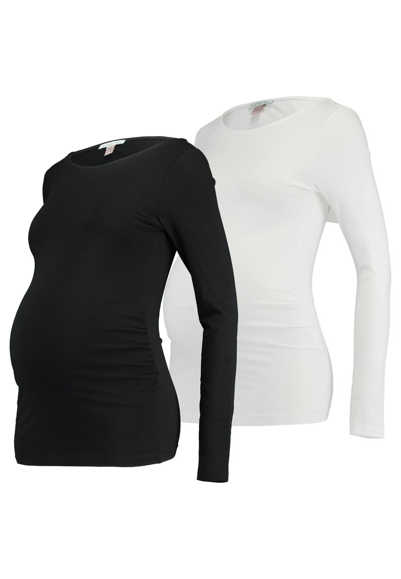 Anna Field MAMA - 2 PACK - Long sleeved top - black/white