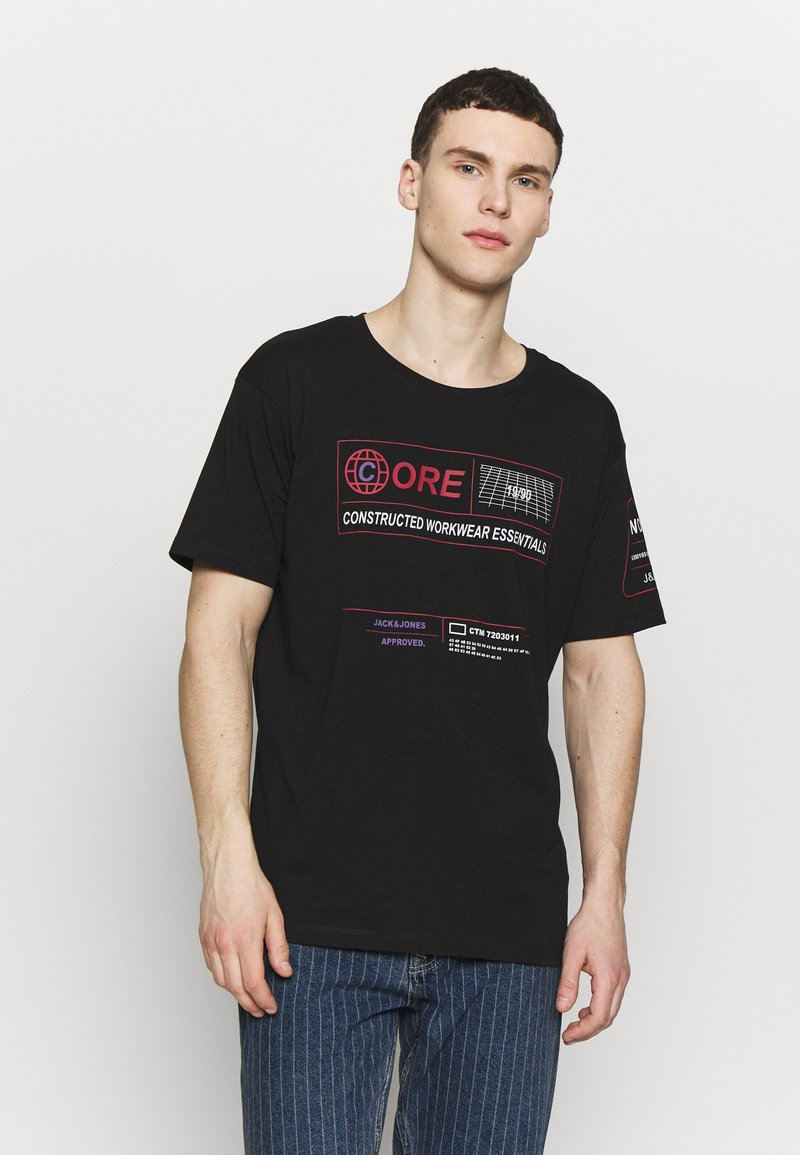 Jack & Jones - JCOLET TEE CREW NECK  - T-shirt med print - black